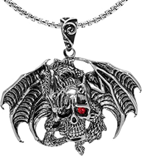 """Gothic Flying Dragon Wings Skull Necklace, Red Eye Skull Pendant Necklace with 23.6"""" Chain, Crystal Skull Head Necklace, P..."""