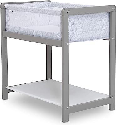 Delta Children Classic Wood Bedside Bassinet Sleeper - Portable Crib with High-End Wood Frame, Link
