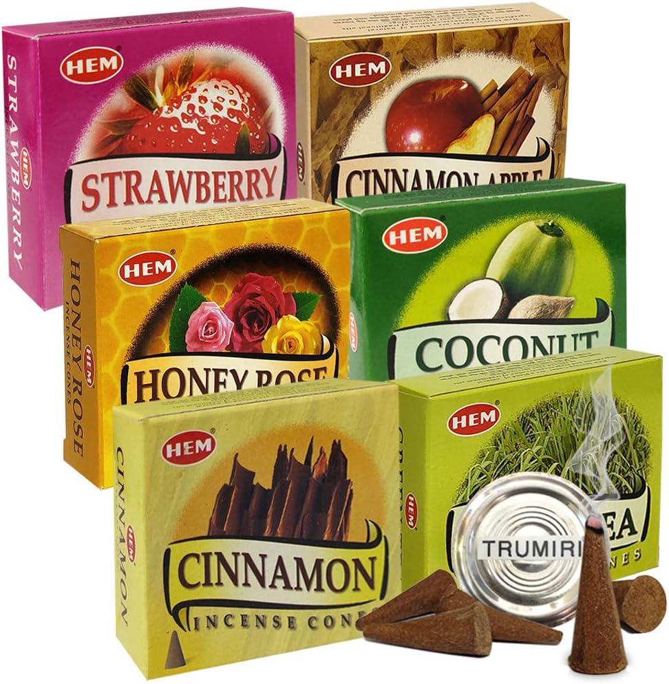 Hem Incense Cones Variety Pack #5 And Cone Incense Burner Bundle With 6 Most Sought-After Fragrances