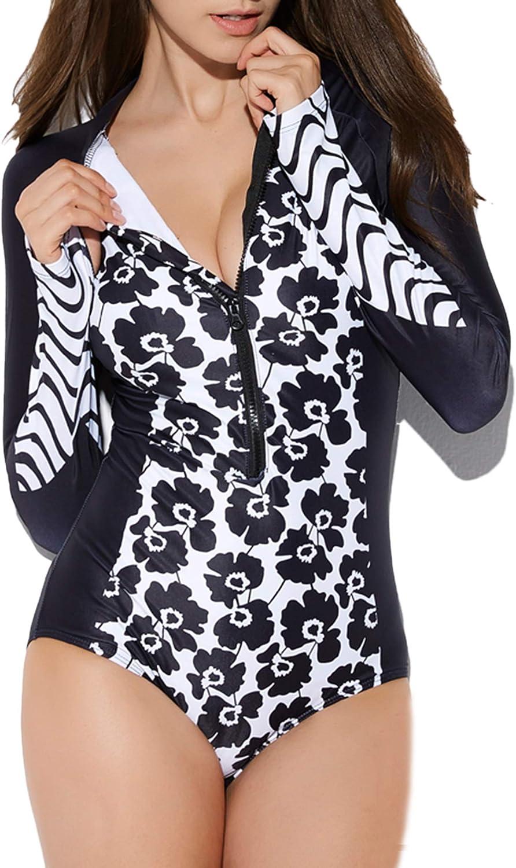 BLOOMMY Rashguard für Damen, langrmelig, einteilig, Badeanzug, UV-Schutz, Bedruckt, Surfen