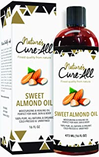 Sponsored Ad - Organic Sweet Almond Oil For Skin & Hair (16oz), Unrefined, Cold-Pressed Skincare | Moisturized Skin, Nouri...