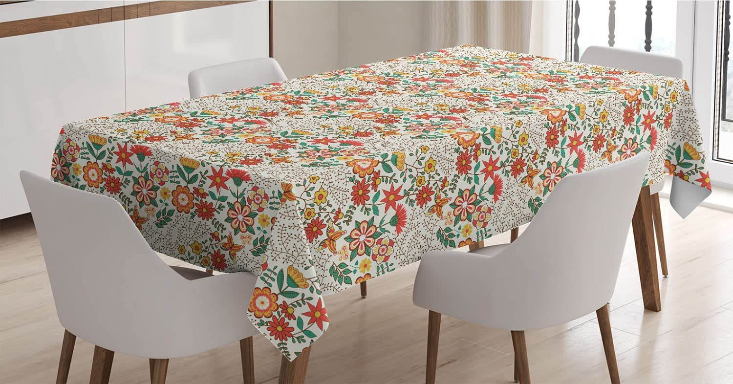 Ranking integrated 1st place Ambesonne Abstract Tablecloth Tulip Illustration of Traditional Max 66% OFF