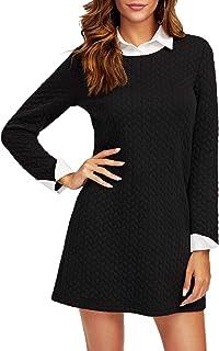 SOLY HUX Vestido con Cuello en Contraste 2 en 1 Vestido Elegante- Negro