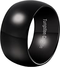 Fashion Month Mens 12mm Classic Black Tungsten Carbide Ring Wedding Engagement Domed High Polished Wide Smooth Band