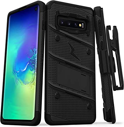 ZIZO Bolt Heavy-Duty Galaxy S10 Case | Military-Grade Drop Protection w/Kickstand Bundle Includes Belt Clip Holster + Lanyard Designed for 6.1 Samsung S 10 Black Black