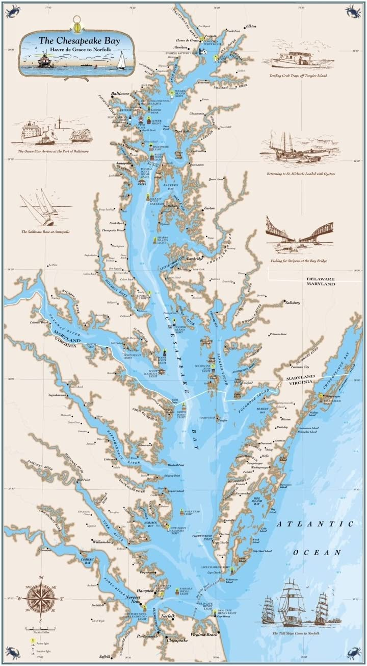 Amazon Com Sealake Products The Original Chesapeake Bay Map Explore The Bay With A Map From Harve De Grace To Norfolk Laminated Home Kitchen Vessel chesapeake bay is a container ship, registered in liberia. sealake products the original chesapeake bay map explore the bay with a map from harve de grace to norfolk laminated
