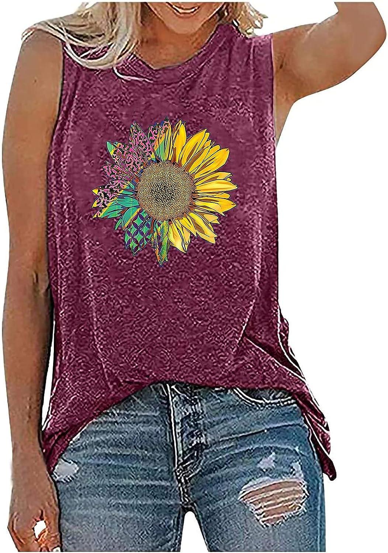 Womens Summer Tops Women's Sleeveless Casual Tops Crewneck Printing Sleeveless Vest Tops Juniors Girls