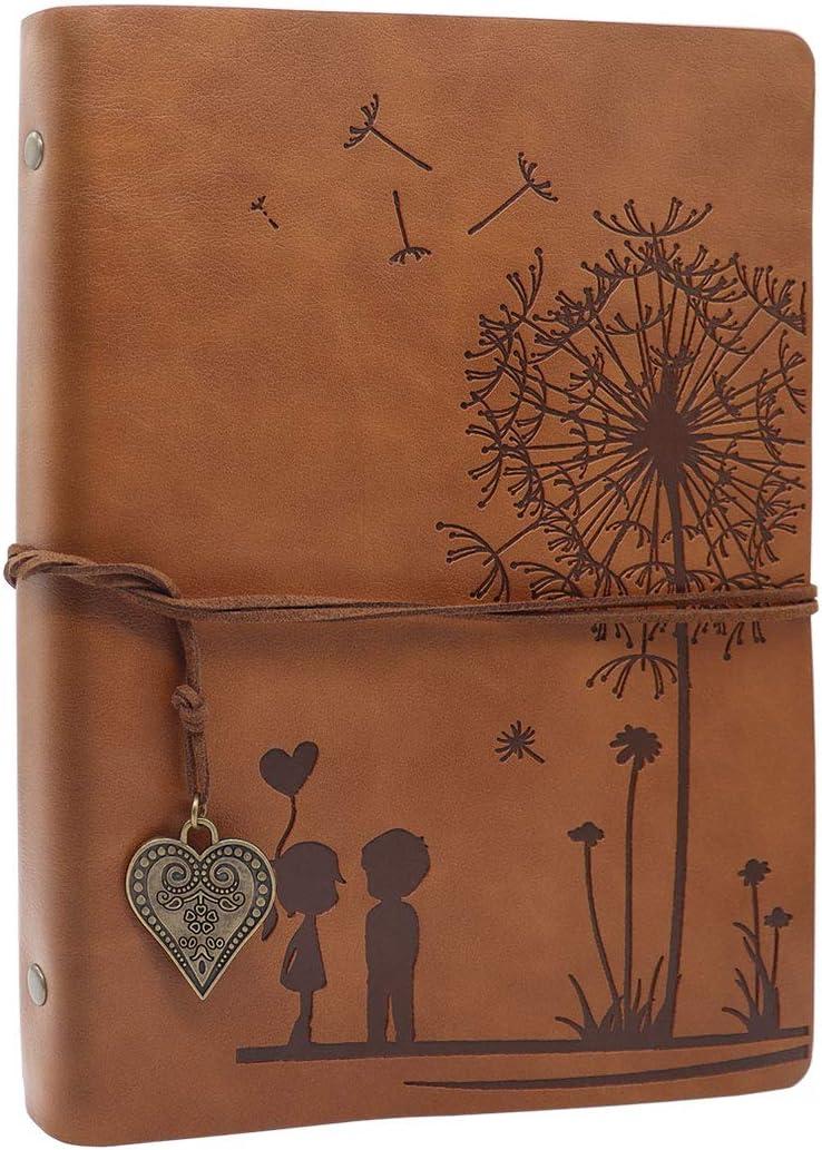 SEEALLDE Cuaderno de piel A5 páginas en blanco diario de viaje diario cuaderno mapamundi vintage cuaderno de notas cuaderno (Diente de león Marron)