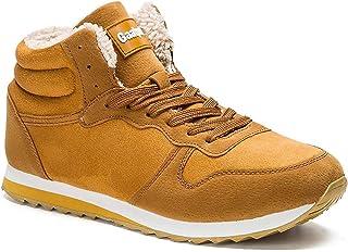 Gaatpot Chaussures Bottes Hiver DE Neige FOURRÉES Bottines Mode Courtes avec Doublure Chaude Mixte Adulte Jaune EU 41.5 = ...