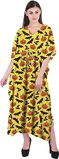 RADANYA Halloween Women Casual Maxi Kaftan Loose 3/4 Sleeve Cotton Dress Caftan