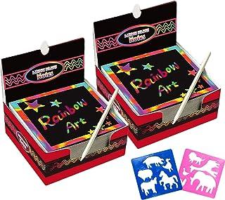 Global Tronics Carte à Gratter 200 Feuilles avec 10 Styles Stencil 2 Stylets Bleus, Dessin Scratch Art Papier Couleur Magi...