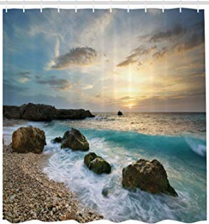"""Ambesonne Ocean Shower Curtain, Seascape Composition of Nature Rocks Waves Cloudy Sky Rising Sun Beach Photo, Cloth Fabric Bathroom Decor Set with Hooks, 84"""" Extra Long, Brown Blue"""