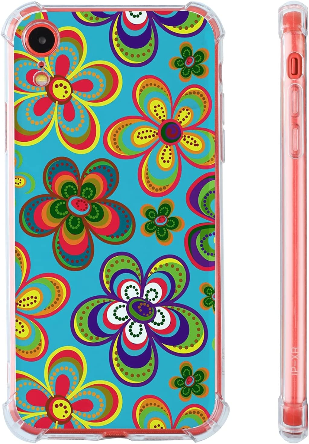 Hippie Flowers iPhone XR Case,Cute Hippie Flowers 60s 70s Colorful Psychedelic Tie Dye iPhone XR Case with for Women/Girl,Soft TPU Bumper Cool Trendy Cover Case for Apple iPhone