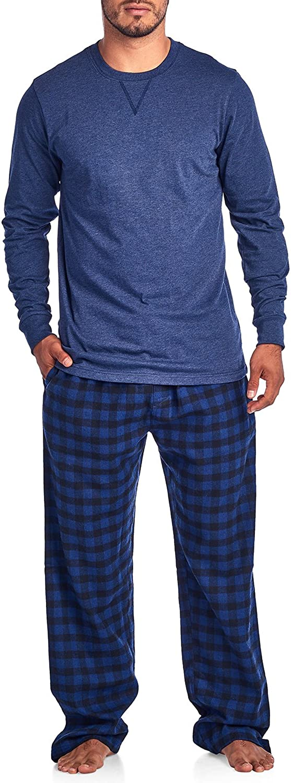Ashford & Brooks Men's V-Neck Long-Sleeve Top Flannel Pants Pajama Sleepwear Set
