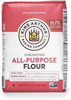 King Arthur, All Purpose Unbleached Flour, Non-GMO Project Verified, Certified Kosher, No Preservatives, 2 Pounds (Pack of...