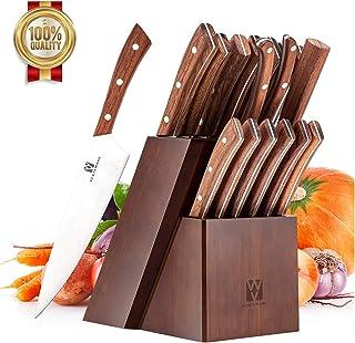 Vestaware Knife Set, 16-Piece Chef Knife Set with Knife Sharpener, Stainless Steel Kitchen Knives Set with Wooden Block, 6 Steak Knives and Bonus Scissors