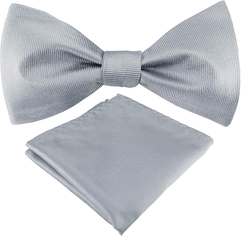 Mens Exquisite Woven 100% Silk Self Bowtie Solid Plain Bow Ties & Pocket Square Set