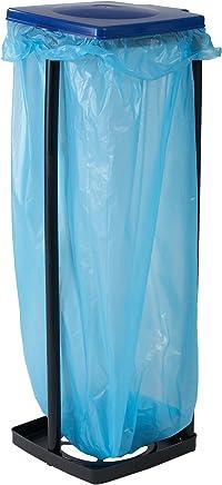 axentia Müllsackständer mit Deckel, Ständer für Müllsäcke bis 120 Liter und gelbe Säcke, Müllbeutelhalter höhenverstellbar, Kunststoff