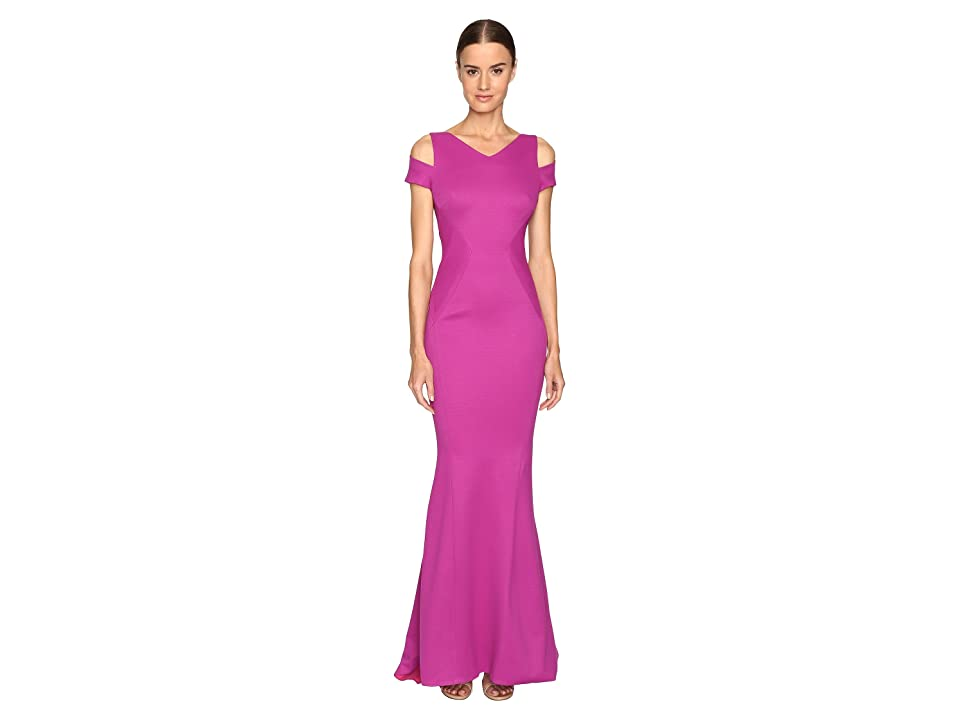 Zac Posen Bondage Jersey Cold Shoulder Gown (Magenta) Women