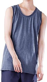 (モノマート) MONO-MART ロング丈 タンクトップ ツインロール ゆる シルエット ロング 裾ラウンド 丈 MODE Uネック メンズ