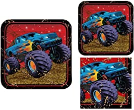 Mudslinger 16 Guest Monster Truck Birthday Party Bundle - 3 Items: Dinner Plates, Dessert Plates & Napkins
