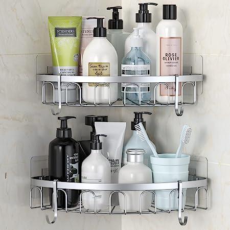stusgo Corner Shower Shelf, Shower Wall Caddy, Adhesive Shower Corner Caddy, SUS304 Stainless Steel Shower Shelving, Bathroom Storage Organizer Rustproof with 4 Hooks for Dorm Kitchen