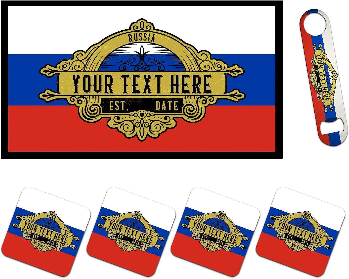 Personalized Russia Flag Bar Runner Matching Bottle Mat 5 Bombing new work ☆ very popular Opener