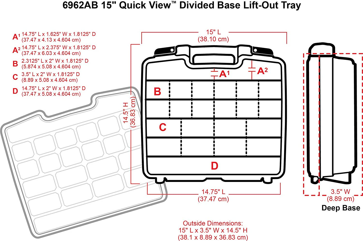 ArtBin Quick View Divided Deep Base with Lift Carrying Case Translucent Clear
