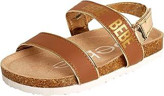 bebe Girls' Sandals – Open Toe Cork Footbed with Buckle Clasp Heel Strap (Toddler/Little Kid/Big Kid)