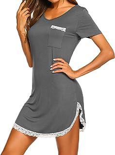 Ekouaer Sleepwear Womens Nightgown Cotton Sleep Shirt Dress V Neck Short Sleeve Lace Trim Soft Nightshirt (S-XXL)
