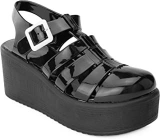 d01da1367a64 RF ROOM OF FASHION Women's Jelly Caged Round Toe Platform Wedge Sandals