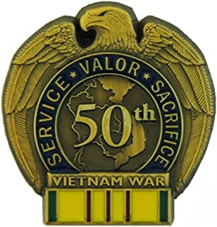 50th Anniversary Vietnam War Pin with Vietnam Service Ribbon