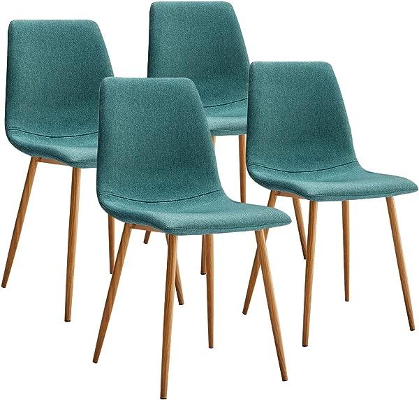 VECELO 布艺坐垫座椅靠背坚固的金属腿餐厅客厅椅子 4 套绿色