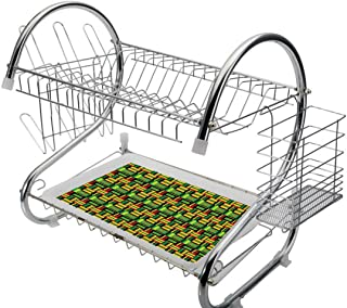 Stainless Steel 2-Tier Dish Drainer Rack Kente Pattern Kitchen Drying Drip Tray Cutlery Holder Tribal Kenya Nigeria Design with Lively Cultural Colors Abstract Traditional,Multicolor,Storage Space Sav