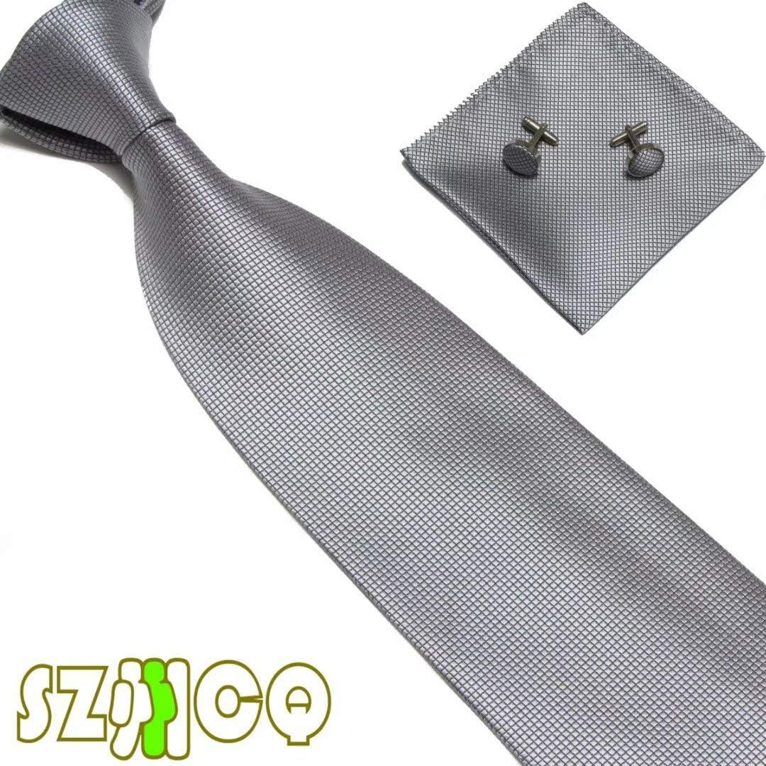 10CM Men's Business Tie Set Narrow Solid Plaid Necktie Squared Kerchief Cuff-links Cravat Gift Box