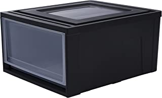 Iris Ohyama, tiroir superposable en plastique - Maxi Drawer - MD-M, noir, 30L, 45 x 39 x 23 cm