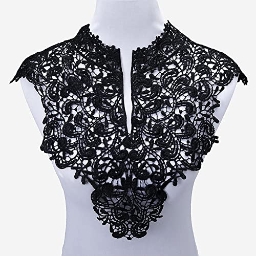 Top White Punk Style Skull Pattern Floral Corded Embroidery Lace Applique Patch
