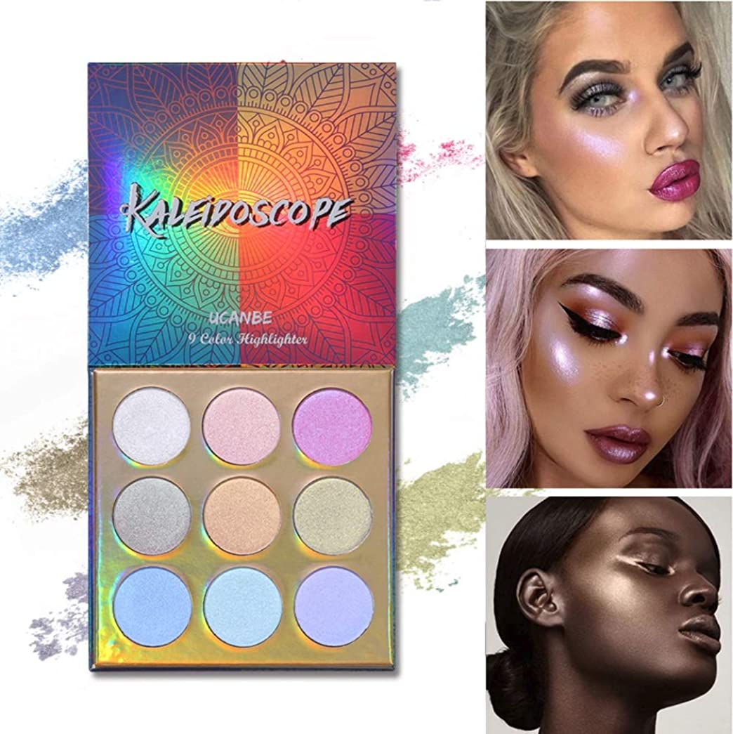 オーストラリア人悲しいことに砂Makeup High-shine Glitter Highlighter Palette 9 Color Shimmer Brilliant Rainbow Highlighter Powder Face Illuminator Glow Kit ハイライトイルミネーターフェイスメイクアップライターライターハイライターパウダーパレットブロンザーグローキット化粧品