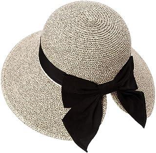 Siggi Womens Floppy Summer Sun Beach Straw Hat UPF50 Foldable Wide Brim 55-60cm