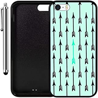 Custom Case Compatible with iPhone SE, iPhone 5S (Turquoise Green Arrow Pattern) Edge-to-Edge Rubber Black Cover Ultra Slim   Lightweight   Includes Stylus Pen by Innosub