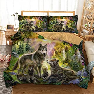 zhj888 Wolf Family Bedding Set Double Full Queen Extra Large Super King UK Double Size