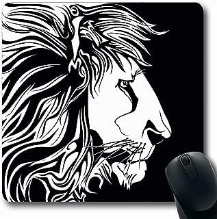 Ahawoso Mousepad Oblong 7.9x9.8 Inches Fur Head Lion Clip Profile Power White Black Tattoo Design Line Mouse Pad Non-Slip Rubber for Notebook Laptop PC Computer