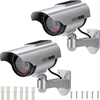 AlfaView Solar Powered Bullet Dummy Fake Surveillance Camera Security CCTV Dome Camera with LED Flashing Light for Outdoo...