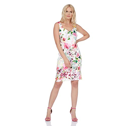 eee385486958 Roman Originals Women Floral Print Scuba Dress - Ladies Sweetheart Neckline  Sleeveless Pencil Bodycon Knee Length