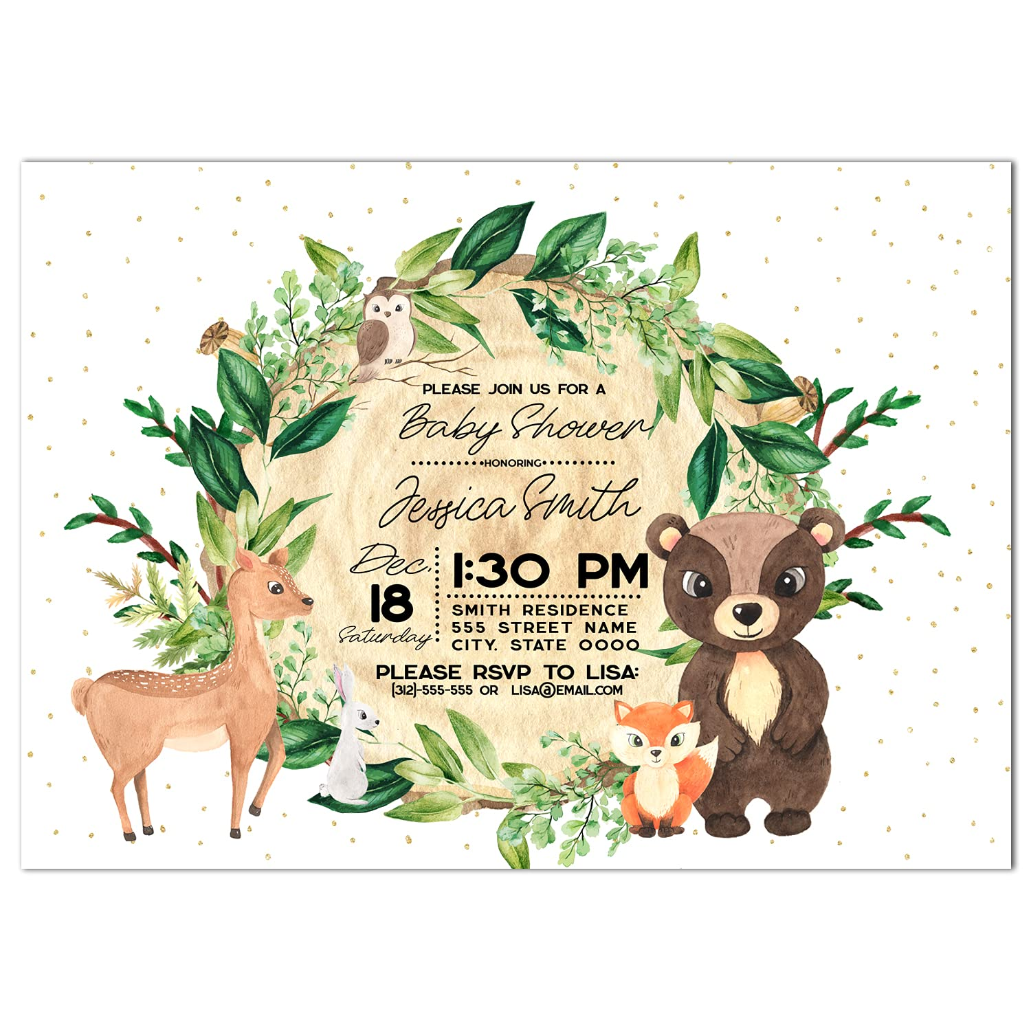 Watercolor Popularity Tree depot and Animals Invitations Shower Baby