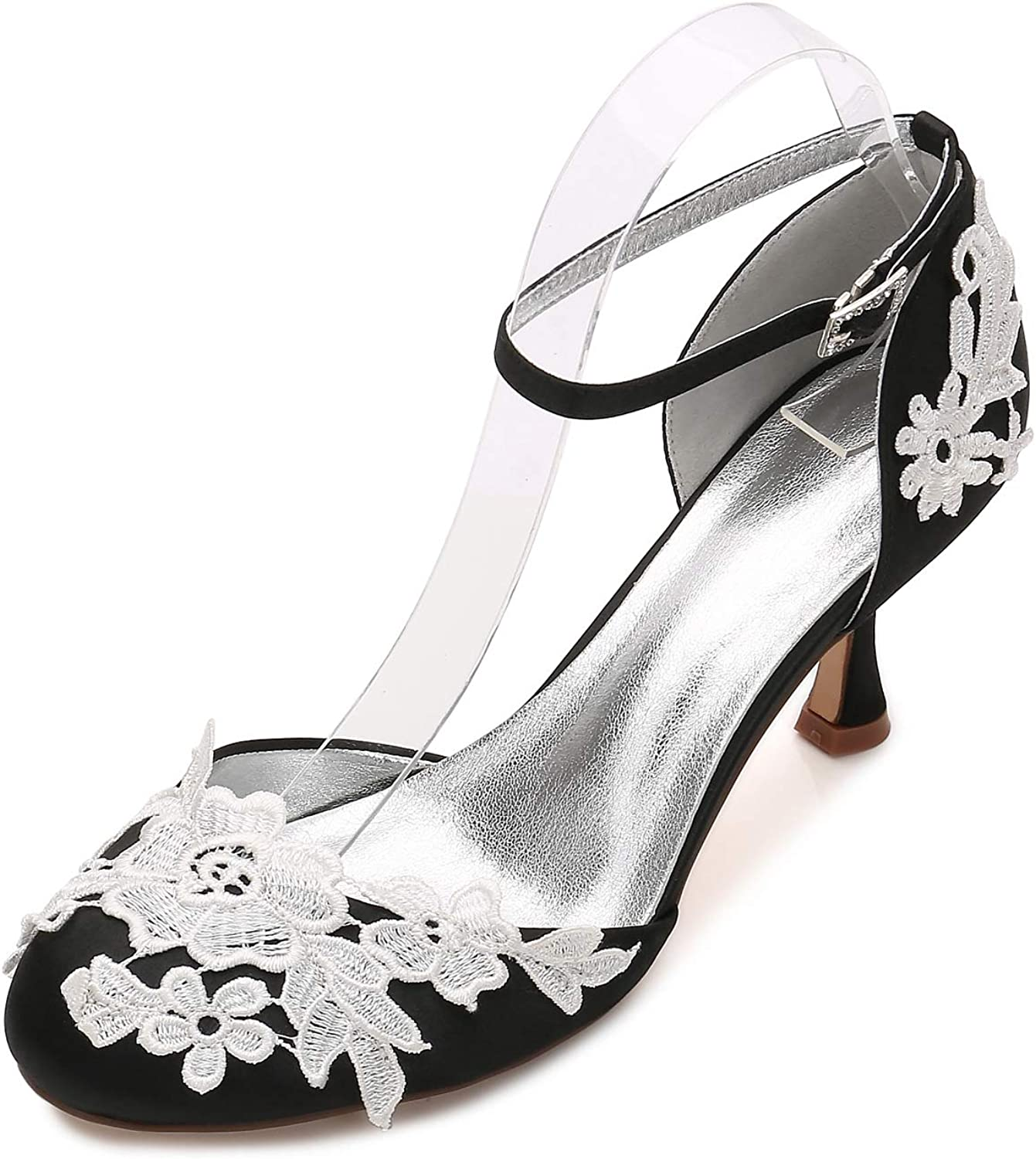 LLBubble Women High Heels Satin Appliques Wedding Bridal shoes Round Toe Ankle Strap Buckle Formal Party Dress Pumps 17061-7