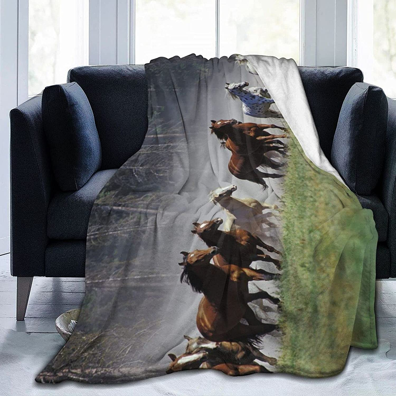 Ranking Popular products integrated 1st place PNNUO Fleece Blankets-Wild Running Plu All-Season Horses Blanket