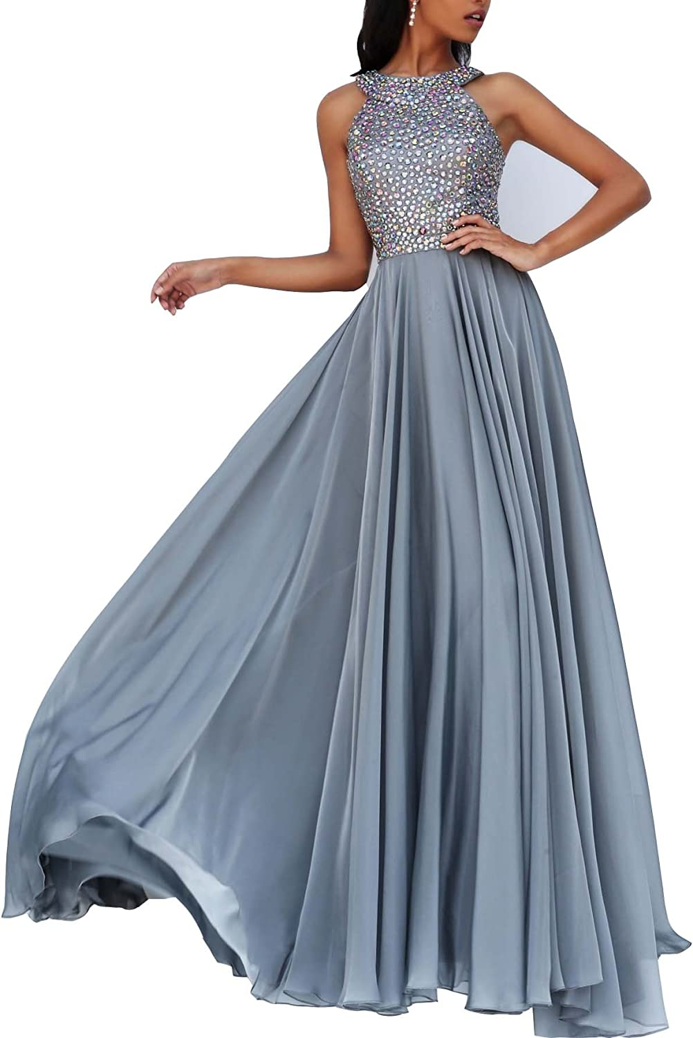 Changjie Women's Halter Beading Party Prom Dress Long Formal Evening Gown