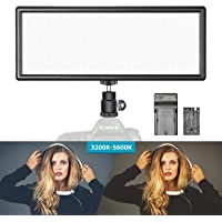 Neewer Super Slim Bi-Color Dimmable LED Video Light with LCD Display, 2600mAh Li-ion Battery and Charger