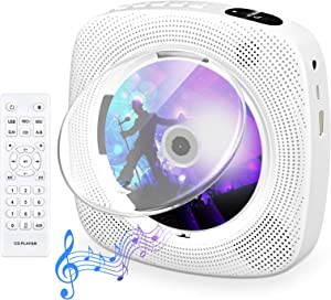 Portable CD Player with Bluetooth Gueray Wall Mountable CD Player Built-in HiFi Speakers with LCD Screen Display Home Audio Boombox FM Radio USB MP3 Music Player
